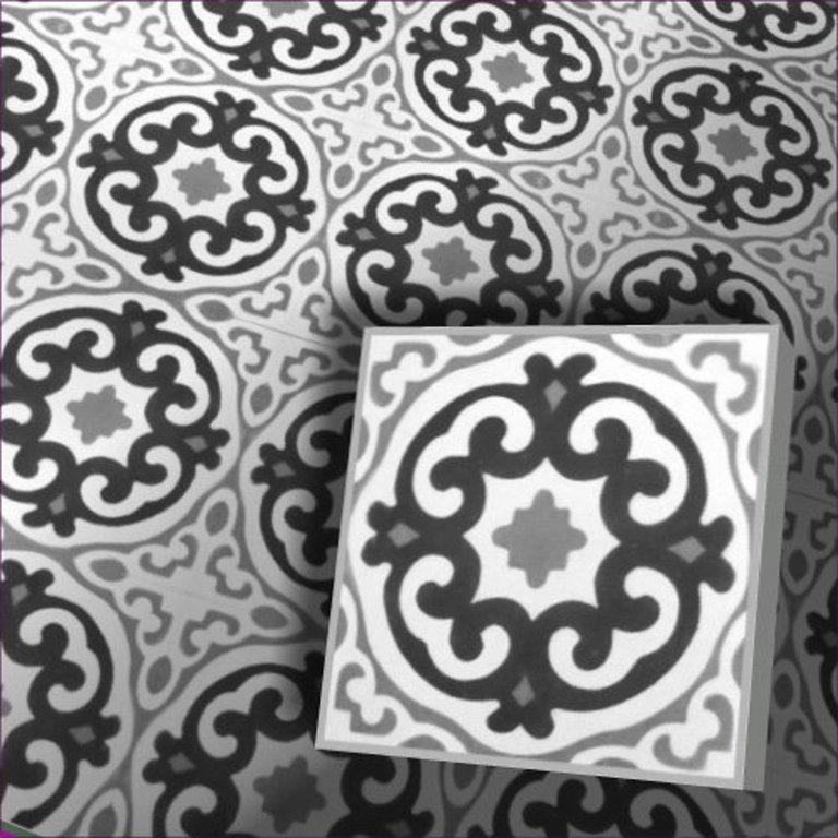 zementfliesen slimania weiss schwarz vintage jugendstil fliesen. Black Bedroom Furniture Sets. Home Design Ideas