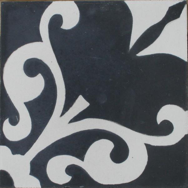 4-er Zementfliese Karina 430_3 schwarz weiss - Wand- und Bodenfliesen
