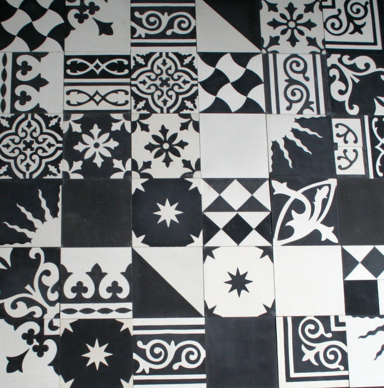 zementfliesen patchwork schwarz wei 907 bodenfliesen fliesen. Black Bedroom Furniture Sets. Home Design Ideas