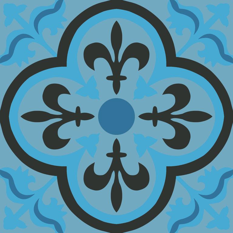 zementfliese jamila blau spanische bodenfliesen. Black Bedroom Furniture Sets. Home Design Ideas