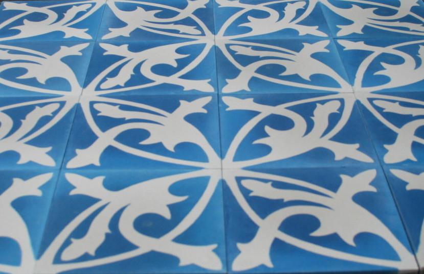 Zementfliese Mondial blau weiß spanische Fliesen Bodenfliesen