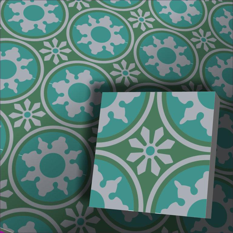 Zementfliesen Radia grün Vintage Jugendstil Fliesen