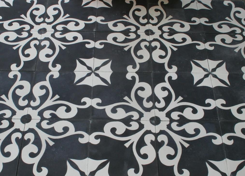 zementfliese karina schwarz weiss spanische bodenfliesen. Black Bedroom Furniture Sets. Home Design Ideas