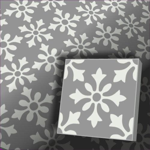 Zementfliesen Flora Grau Weiss Vintage Jugendstil Fliesen