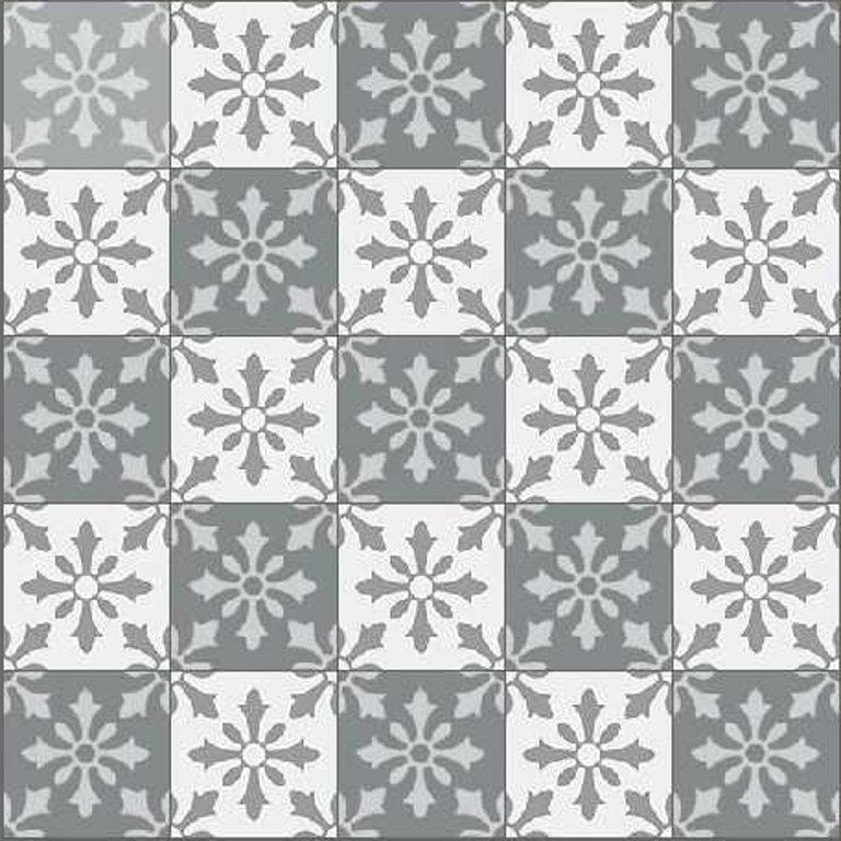 zementfliesen schachbrett fliesen flora 106 grau wei. Black Bedroom Furniture Sets. Home Design Ideas