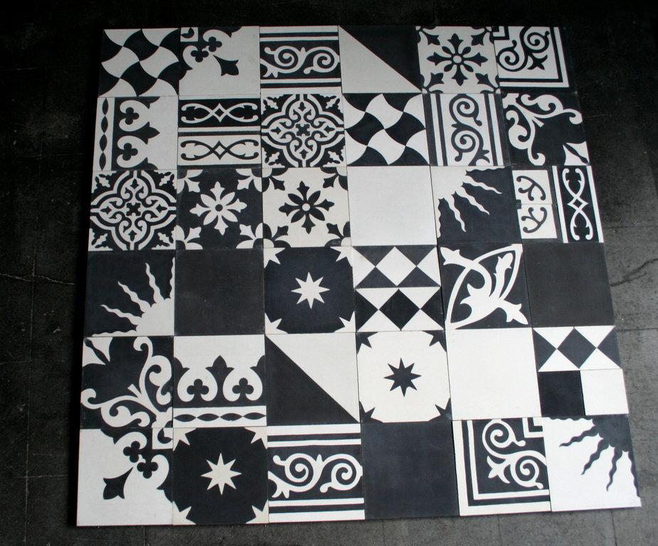 Fußboden Fliesen Schwarz Weiß ~ Zementfliesen patchwork schwarz weiß bodenfliesen fliesen
