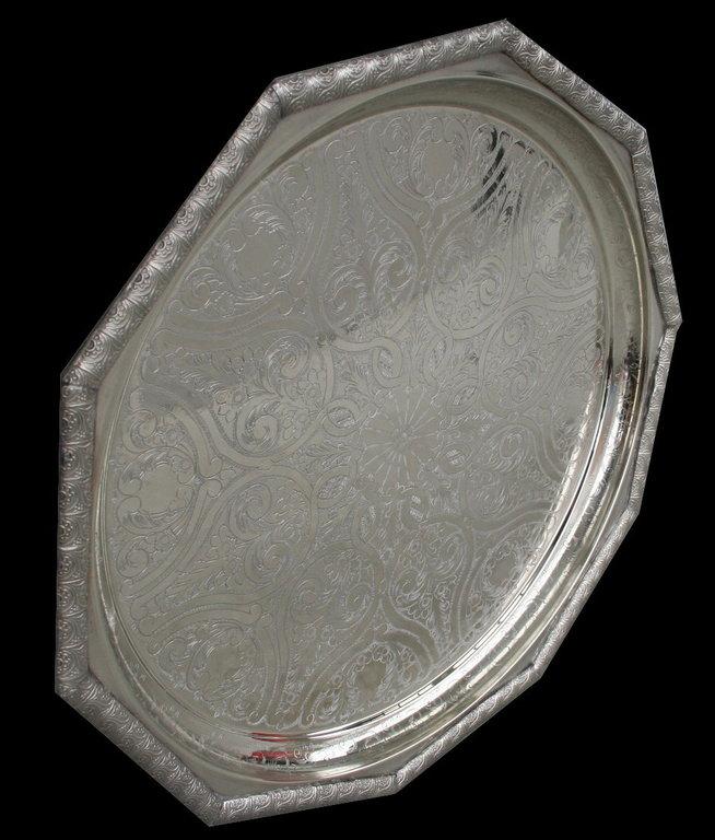 Tisch Tablett Neusilber Silber Geschenkidee Teetablett
