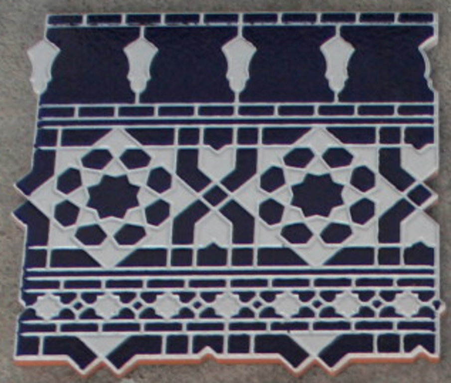 Mosaikfliese Arabesco Blau Bordure Unten Maurische Wandfliese
