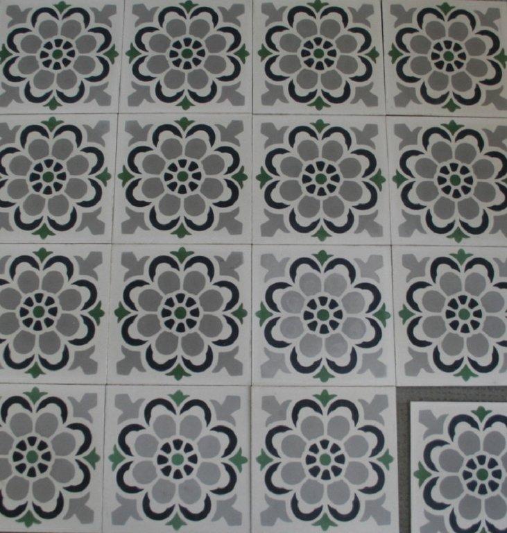 zementfliesen florasol wei grau gr n vintage jugendstil fliesen. Black Bedroom Furniture Sets. Home Design Ideas
