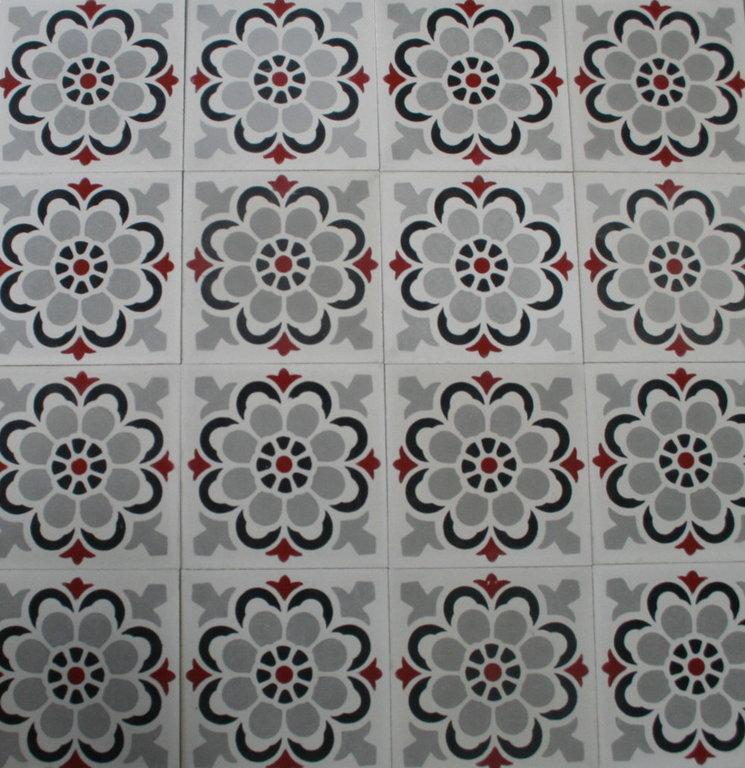 zementfliesen florasol wei grau rot vintage jugendstil fliesen. Black Bedroom Furniture Sets. Home Design Ideas