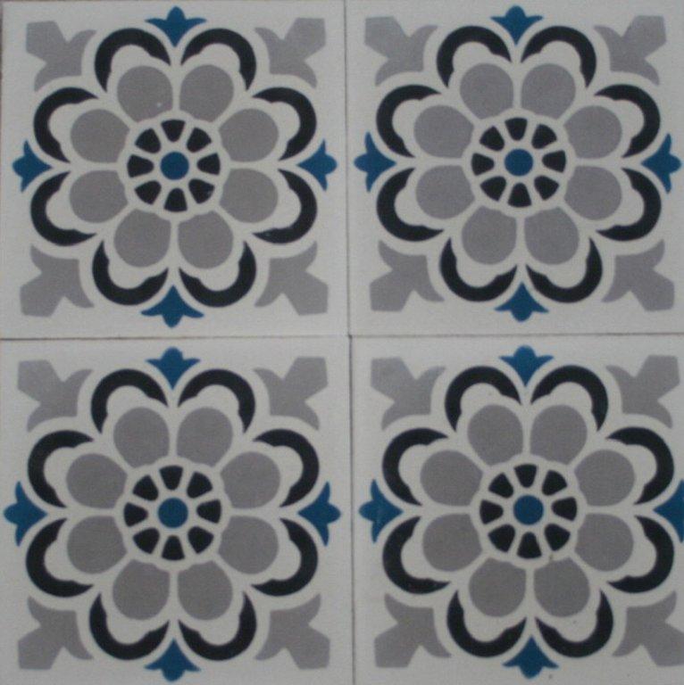 Zementfliesen florasol grau blau vintage jugendstil fliesen - Zementfliesen grau ...