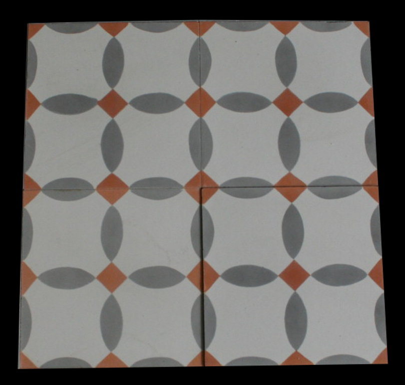 Zementfliesen funduk grau orange vintage jugendstil fliesen - Zementfliesen grau ...