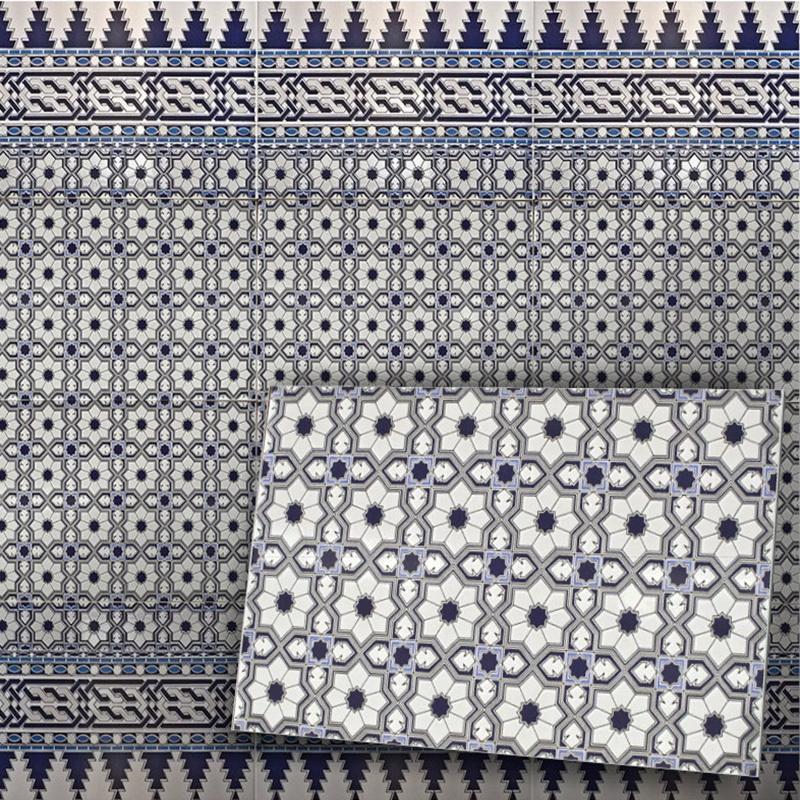 Orientalische Maurische Fliese Spanische Wandfliese Sidi Blau