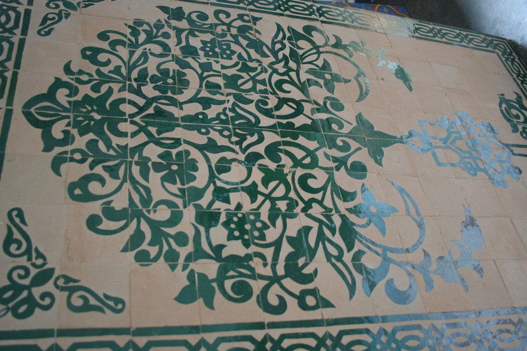 Wandbild baum gr n zellige fliesen gravur mosaik fliesenbild - Wandbild orientalisch ...