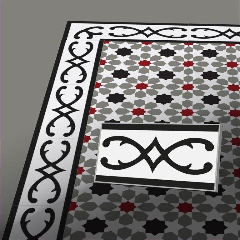 zementfliesen florina grau wei rot vintage jugendstil fliesen. Black Bedroom Furniture Sets. Home Design Ideas