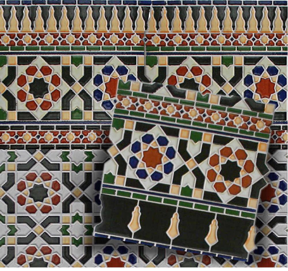 Mosaikfliese Arabesco Schwarz Bordüre Unten Spanische Wandfliesen - Fliesen 2te wahl